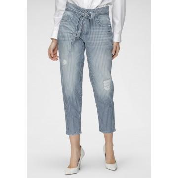 MAC Jeans in blue denim / weiß