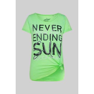 Soccx Ausbrenner-Shirt mit Knotensaum und Print in grün