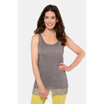 Gina Laura Top in taupe / graumeliert