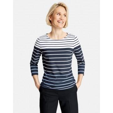 GERRY WEBER 3/4 Arm Shirt in dunkelblau / weiß